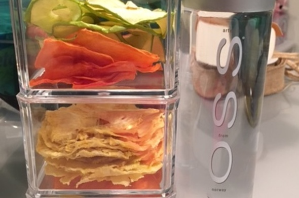 Dehydrated fruits in three tier lucite box