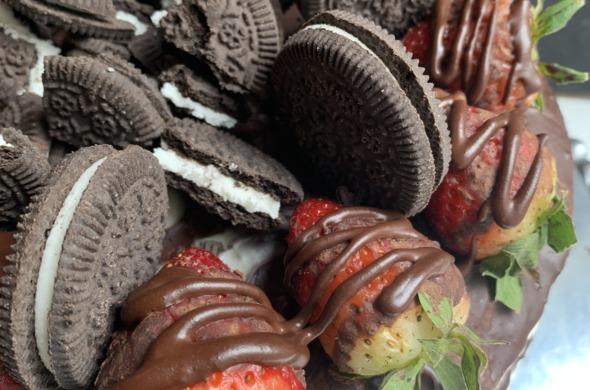 Chocolate Cake w/ Vegan Cream filling & Chocolate Ganache Topped w/ Strawberries