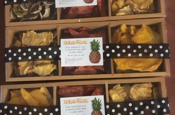 Dehydrated Fruit In 3 Section Wooden Box