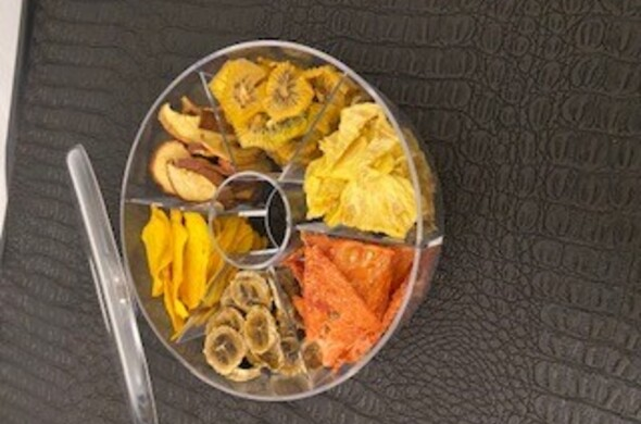 Round Sectional Lucite w/ Dehydrated Fruit