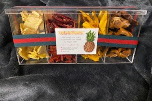 4 Section Rectangular Lucite w/ Lid - Dehydrated Fruit