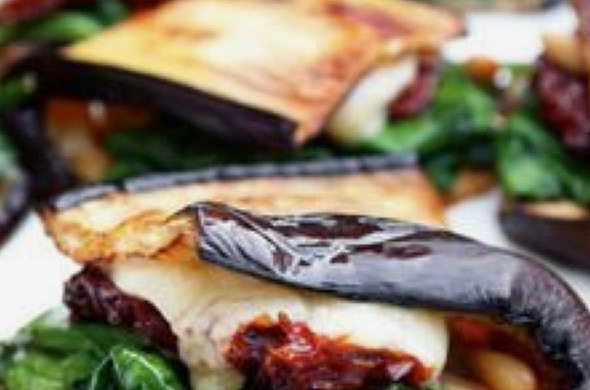 Roasted Eggplant w/Sundried Tomatoes, Spinch & Cheddar Cheese