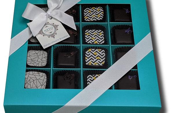 16pc Artisan Chocolate Gift Box - AQUA color